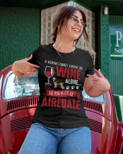 Woman Needs Wine And Airedale Terrier Ladies T-Shirt apparel-ladies-t-shirt-lifestyle-01