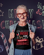 Woman Needs Wine And Airedale Terrier Ladies T-Shirt lifestyle-holiday-crewneck-front-3