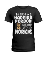 Happier Person Morkie Ladies T-Shirt thumbnail