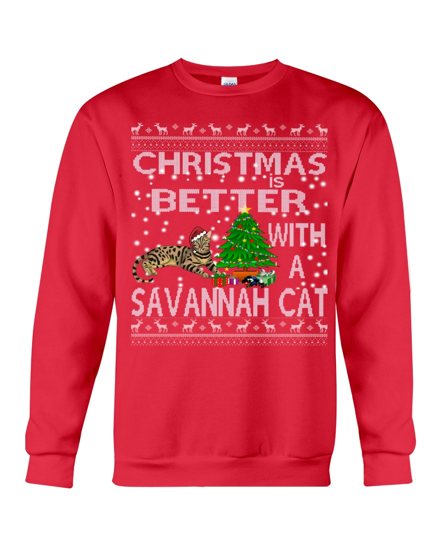 Christmas Is Better With A Savannah cat Crewneck Sweatshirt