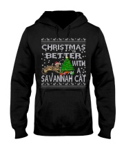 Christmas Is Better With A Savannah cat Hooded Sweatshirt thumbnail