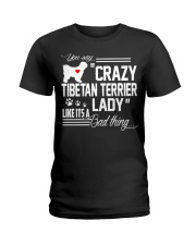 CRAZY TIBETAN TERRIER DOG LADY Ladies T-Shirt front