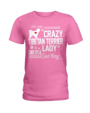 CRAZY TIBETAN TERRIER DOG LADY Ladies T-Shirt tile