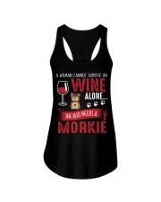 Woman Needs Wine And Morkie Ladies Flowy Tank thumbnail