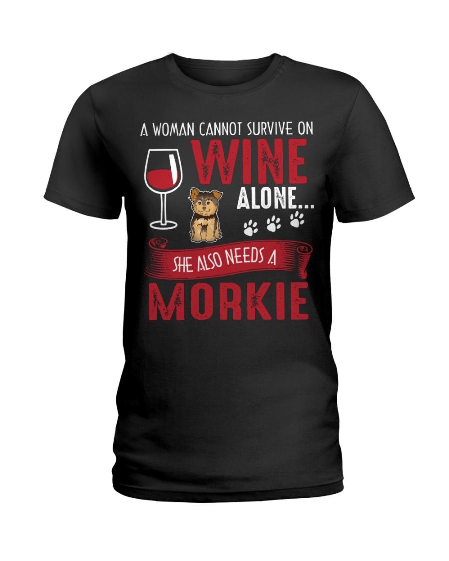 Woman Needs Wine And Morkie Ladies T-Shirt