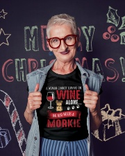 Woman Needs Wine And Morkie Ladies T-Shirt lifestyle-holiday-crewneck-front-3