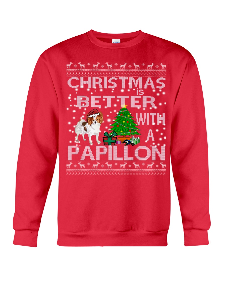 Christmas Is Better With A Papillon Crewneck Sweatshirt