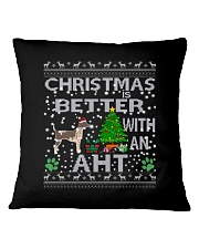 Christmas With American Hairless Terrier AHT Square Pillowcase thumbnail