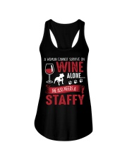 Woman Needs Wine And Staffy Ladies Flowy Tank thumbnail