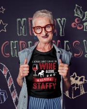 Woman Needs Wine And Staffy Ladies T-Shirt lifestyle-holiday-crewneck-front-3