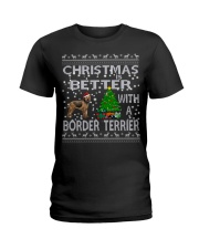 Christmas Is Better With A Border Terrier Ladies T-Shirt thumbnail
