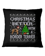 Christmas Is Better With A Border Terrier Square Pillowcase thumbnail