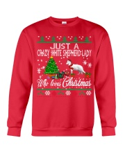 Crazy White Shepherd Lady Who Loves Christmas Crewneck Sweatshirt front