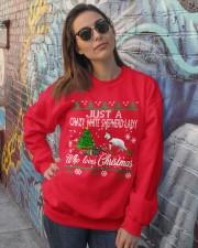Crazy White Shepherd Lady Who Loves Christmas Crewneck Sweatshirt lifestyle-unisex-sweatshirt-front-3