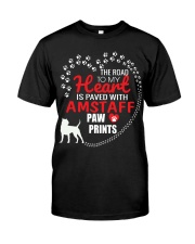 My Heart Paved With Amstaff Paw Prints Classic T-Shirt front