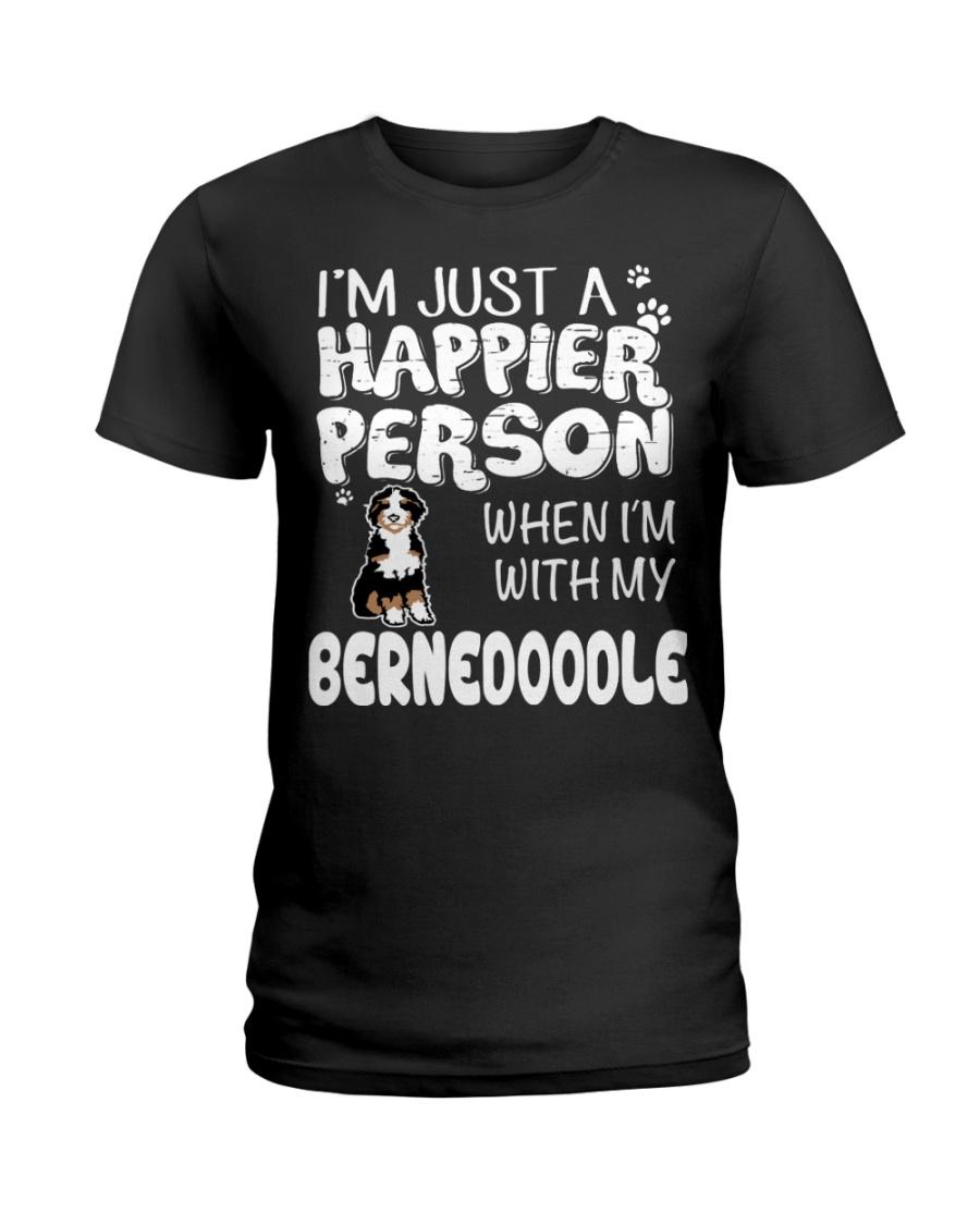 Bernedoodle Happier Person  Ladies T-Shirt