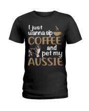 Sip Coffee With My Aussie - Australian Shepherd Ladies T-Shirt thumbnail