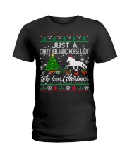 Crazy Icelandic Horse Lady Who Loves Christmas Ladies T-Shirt thumbnail