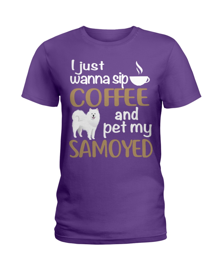 SIP COFFEE SAMOYED  Ladies T-Shirt