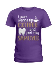 SIP COFFEE SAMOYED  Ladies T-Shirt front