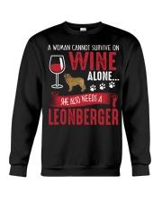 Woman Needs Wine And Leonberger Crewneck Sweatshirt thumbnail