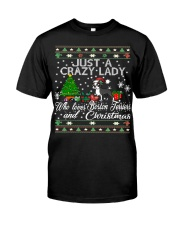 Crazy Lady Loves Boston Terriers And Christmas Classic T-Shirt thumbnail