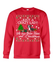 Crazy Lady Loves Boston Terriers And Christmas Crewneck Sweatshirt front