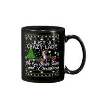 Crazy Lady Loves Boston Terriers And Christmas Mug thumbnail