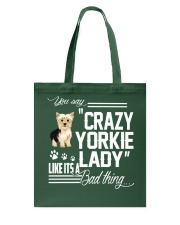 Crazy Yorkie Dog Lady Tote Bag thumbnail