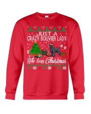 Crazy Lady Loves Bouvier And Christmas Crewneck Sweatshirt front