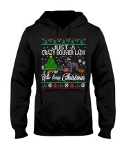 Crazy Lady Loves Bouvier And Christmas Hooded Sweatshirt thumbnail
