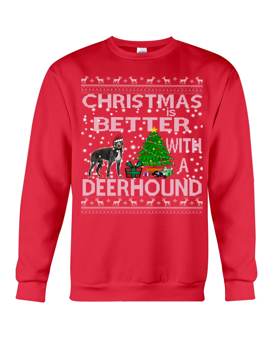 Christmas Is Better With A Deerhound Crewneck Sweatshirt