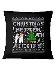 Christmas Is Better With A Wire Fox Terrier Square Pillowcase thumbnail