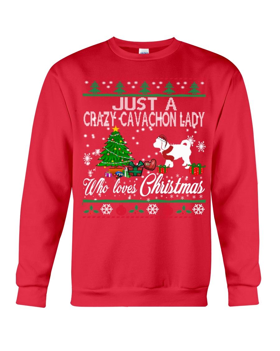 Crazy Cavachon Lady Who Loves Christmas Crewneck Sweatshirt