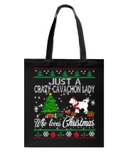 Crazy Cavachon Lady Who Loves Christmas Tote Bag thumbnail
