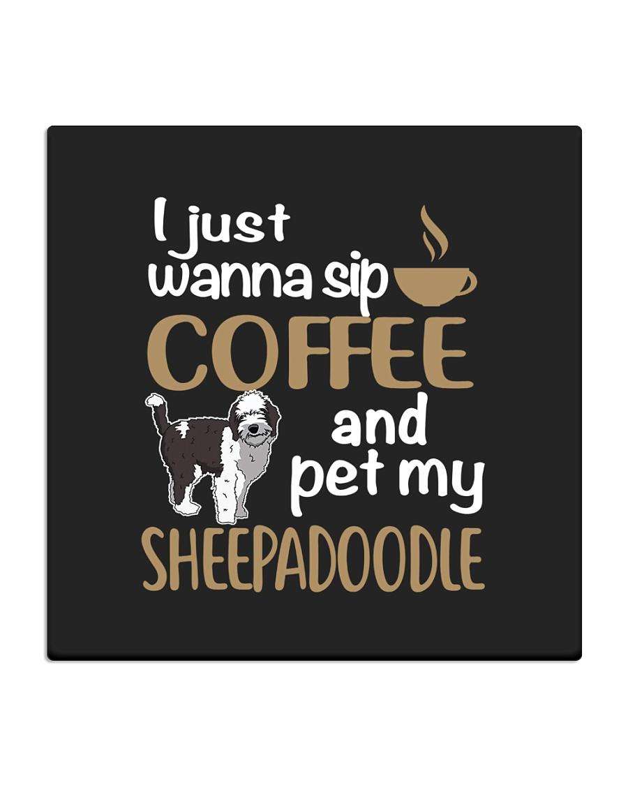 Sip Coffee Sheepadoodle Square Coaster