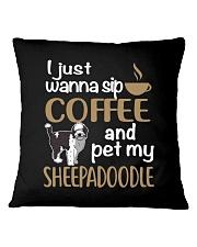 Sip Coffee Sheepadoodle Square Pillowcase thumbnail