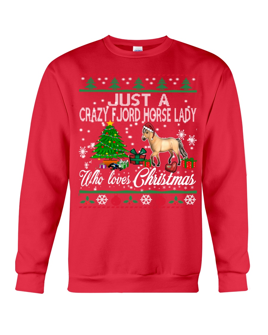 Crazy Fjord Horse Lady Who Loves Christmas Crewneck Sweatshirt