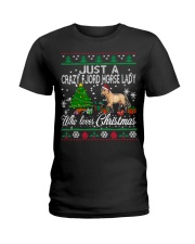 Crazy Fjord Horse Lady Who Loves Christmas Ladies T-Shirt thumbnail