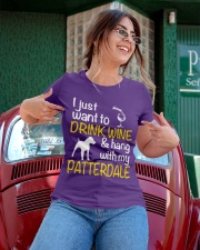 Drink Wine With Patterdale Terrier  Ladies T-Shirt apparel-ladies-t-shirt-lifestyle-01