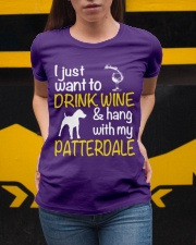 Drink Wine With Patterdale Terrier  Ladies T-Shirt apparel-ladies-t-shirt-lifestyle-04