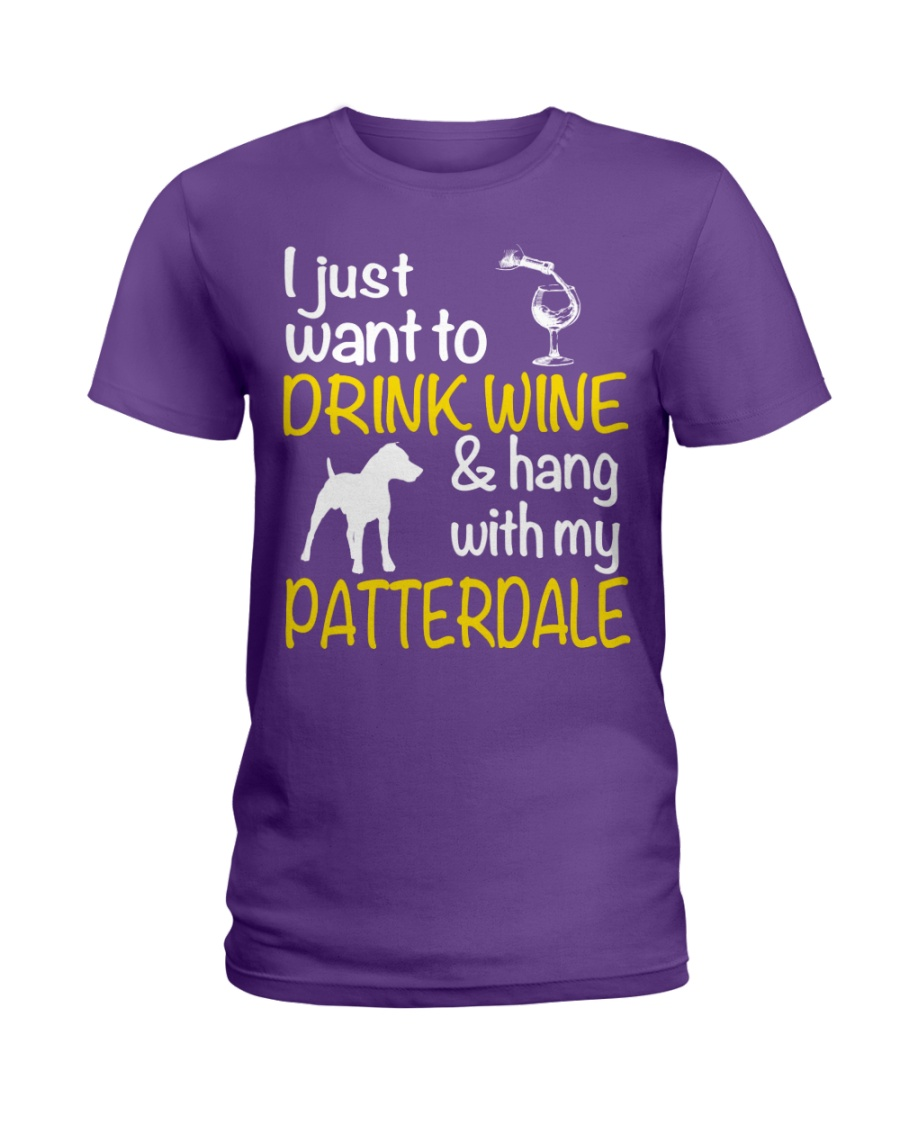 Drink Wine With Patterdale Terrier  Ladies T-Shirt
