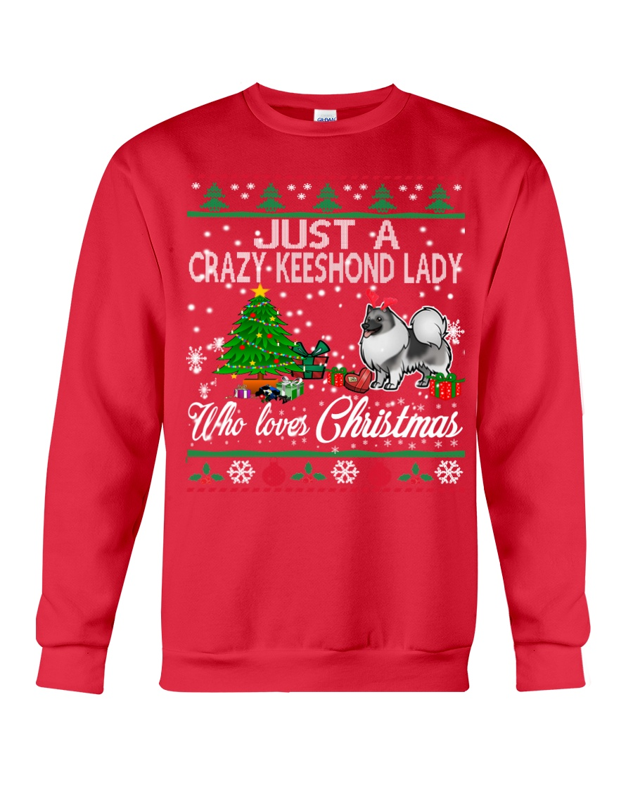 Crazy Keeshond Lady Who Loves Christmas Crewneck Sweatshirt