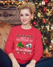 Crazy Keeshond Lady Who Loves Christmas Crewneck Sweatshirt lifestyle-holiday-sweater-front-2