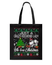 Crazy Keeshond Lady Who Loves Christmas Tote Bag thumbnail