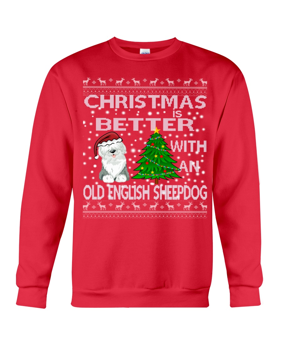 Christmas With A OES Old English Sheepdog Crewneck Sweatshirt
