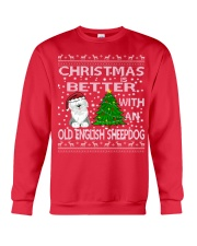 Christmas With A OES Old English Sheepdog Crewneck Sweatshirt front