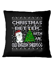 Christmas With A OES Old English Sheepdog Square Pillowcase thumbnail