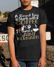 A Good Day With Coffee And Saint Bernard Classic T-Shirt apparel-classic-tshirt-lifestyle-29