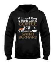 A Good Day With Coffee And Saint Bernard Hooded Sweatshirt thumbnail
